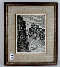 Signed Venice 1925 Drypoint Engraving