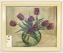 Tulips Oil On Canvas Painting By Edwina Dunn
