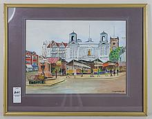 C.E. Lofthouse Watercolor Of Market Scene