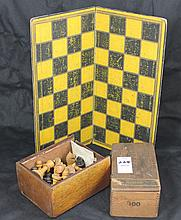 Antique Game Board With Wood Checkers and Carved Wood Chess Pieces