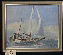 Dunlap Oil On Masonite Painting Of Ship At Sea