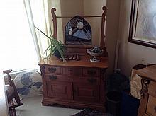 Antique Victorian Golden Oak Ornate Wash Stand Commode