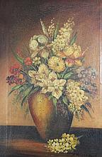 Victorian Oil On Canvas Of Flowers In Vase