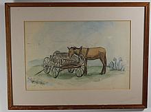 Early American Primitive :: Watercolor & Pencil Mule & Freight Wagon NC Artist