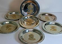 Set Of 7 Sterling President Plates - Each weighs appx 184 grams