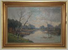 Antique Oil on Canvas Landscape Signed