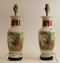 2 Oriental porcelain table lamps