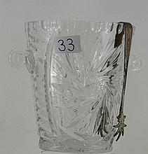 Crystal ie bucket with plated tongs
