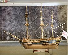 Handmade wooden Sailing ship marked 'Pre