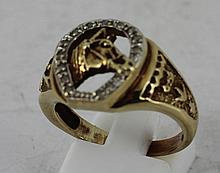 9ct horseshoe ring with diamonds total w