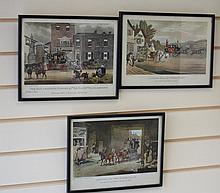 3 Coaching prints - framed 30cm x 22cm e