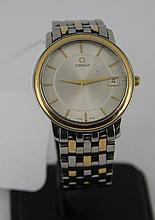 Mens Omega stainless steel and gold watc