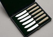 Cased set of 6 bone handles tea knives w