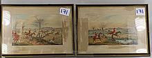 2 prints of Hunting scenes with horses.