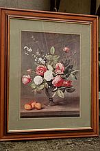 Framed colour print still life of Roses