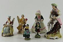 6 continental porcelain figurines