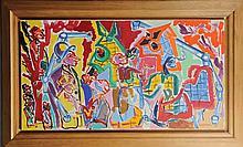 Charles Lapicque (1898-1988) - Au paddock  Huile sur toile. Signée en bas à droite et datée 5