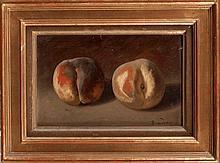 Paul Baudry (1828-1886) - Nature morte à la pêche et nature morte aux coings  Paire d'huiles s
