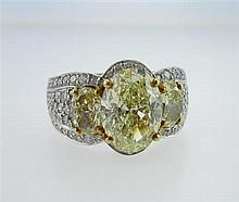 Krypell, Platinum, 18kt Yellow Gold and 3.05ct. Fancy Yellow Diamond Lady's Ring