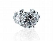 Platinum and Approx. 6.05ct. Round Brilliant Cut Diamond Ring