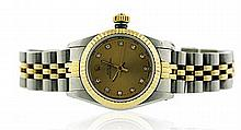 Rolex, 18krt Yellow Gold, Stainless Steel and Diamond Oyster Perpetual Lady's Wrist Watch