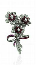Platinum, Ruby and Diamond Bouquet Brooch, L.2 1/4