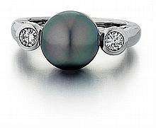 Platinum, Tahitian Pearl and Diamond Lady's Ring