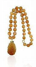 14kt Yellow Gold and Chalcedony Pendant and Bead Necklace, 2Pc.