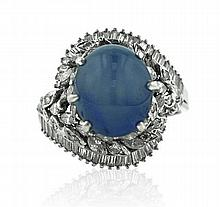 18kt White Gold, Star Sapphire and Diamond Lady's Ring
