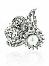 14kt White Gold, Cultured Pearl and Diamond Lady's Ring/ convertible Pin