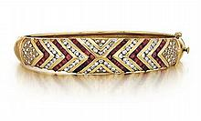 14kt Yellow Gold, Ruby and Diamond Lady's Bracelet
