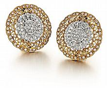 18kt White and Yellow Gold, Diamond Lady's Earrings, Pair