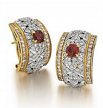 18kt Yellow Gold, Ruby and Diamond Lady's Earrings, Pair