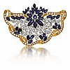 18kt Yellow and White Gold, Sapphire and Diamond Lady's Brooch