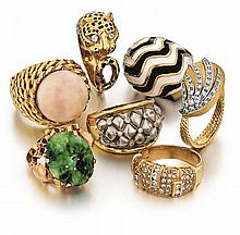 18kt Yellow Gold Lady's Ring Grouping, 7pc
