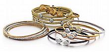 14kt Gold and Diamond Lady's Bracelets, 9pc.