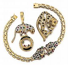 14kt Yellow Gold and Gemstone Lady's Panther Bracelet, Pendant and Pin, 3pc