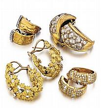 18kt Yellow Gold and Diamond Lady's Earrings, 4 Pair