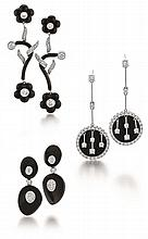 18kt White Gold, Onyx and Diamond Lady's Earrings, 3 Pair