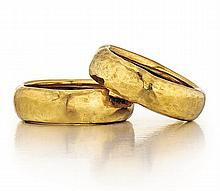 Tiffany & Co., Paloma Picasso 18kt Yellow Gold Lady's Rings, 2 Pcs.