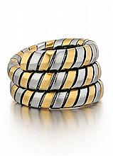 Bvlgari, Tubogas 18kt Yellow and Stainless Steel Ring