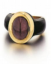 French, L'Oree Du Bois, 18kt Yellow Gold, Ruby, and Ebony Wood Lady's Ring