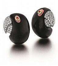 French, L'Oree Du Bois, 18kt White Gold, Diamond, Ruby, Ebony Wood Pink Coral Parrot Earrings, Pair