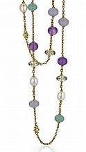 Judith Ripka, 18kt Yellow Gold, Cultured Pearl, Amethyst, Quartz and Diamond Lady's Necklace