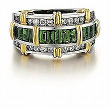 18kt White & Yellow Gold, Emerald and Diamond Ring