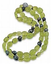 David Yurman, Sterling Silver, Green Quartz, Black Cultured Pearl and Diamond Lady's Necklace