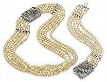 18k White Gold, Diamond and Cultured Pearl Collar and Bracelet, 2 pc.
