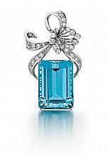 Platinum, Aquamarine and Diamond Pin/ Pendant, L.1 3/4
