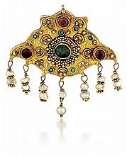 14kt Yellow Gold, Gemstone and Pearl Lady's Pin