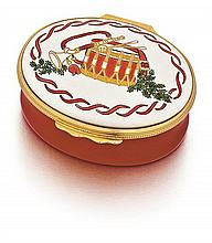 Cartier Halcyon Days Enamel Oval Covered Dresser Box